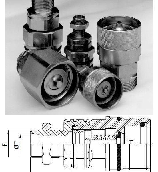 M36x2 külső menetes összecsavarható hidraulika gyorscsatlakozó hüvely S25