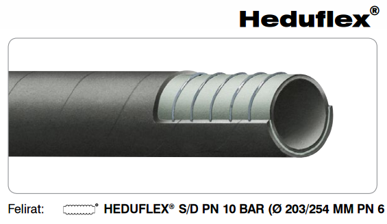 HEDUFLEX Gumi szívó-nyomó tömlő ipari felhasználásra DN102mm