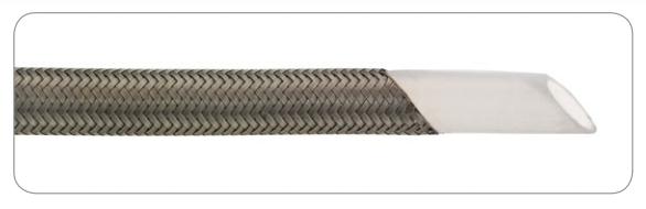 Sima falú teflon tömlő külső acél szövet védelemmel DN12mm