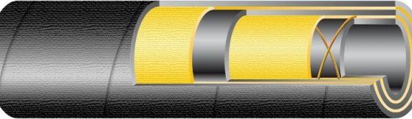 YAKIT 10 bar / DN76 nagy átmérőjű  gumibázisú olaj és üzemanyagálló tömlő 2 réteg textilfonat erősítéssel